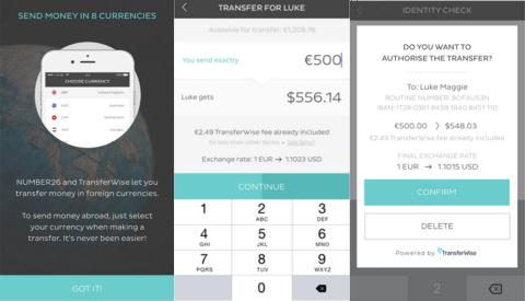TransferWise dans l'app Number26