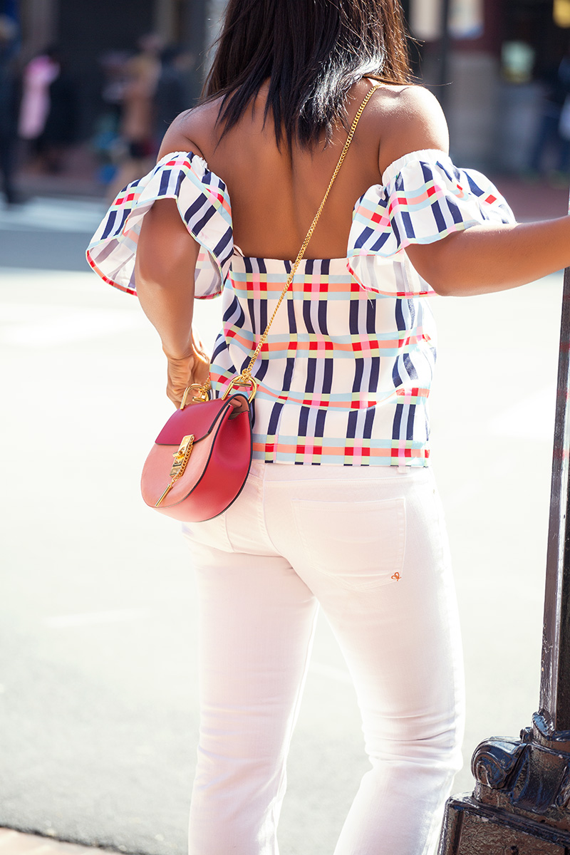 flare jeans, dc style, off the shoulder top, rename tops, chloe bag, jadore-fashion.com