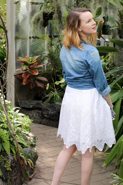 A DIY white lace skirt from thrifted curtains refashion