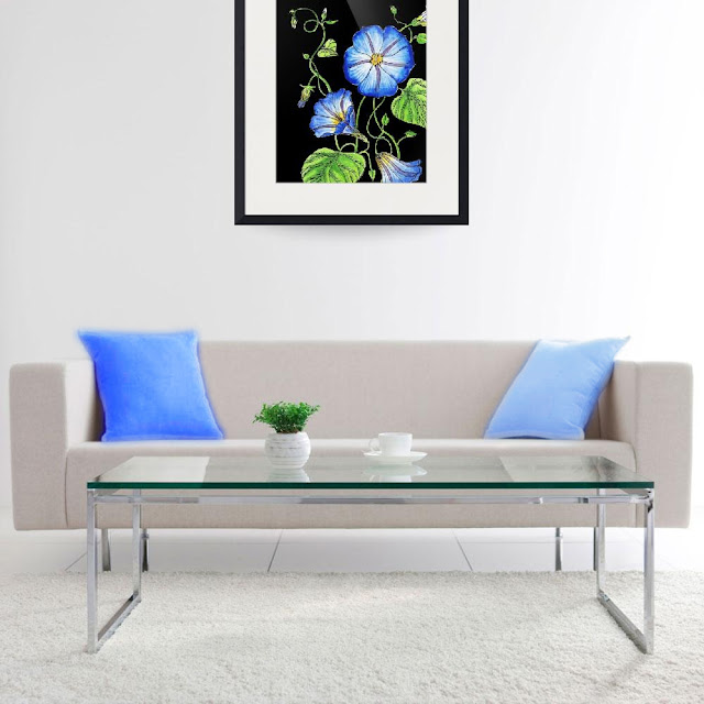 Morning Glory Botanical Watercolor Flower painting in interior decor