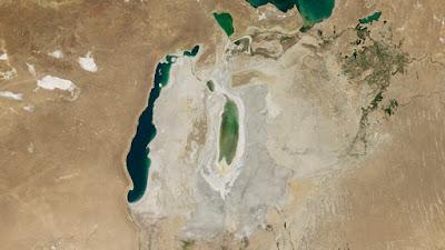imagen satélite del mar de Aral en la actualidad
