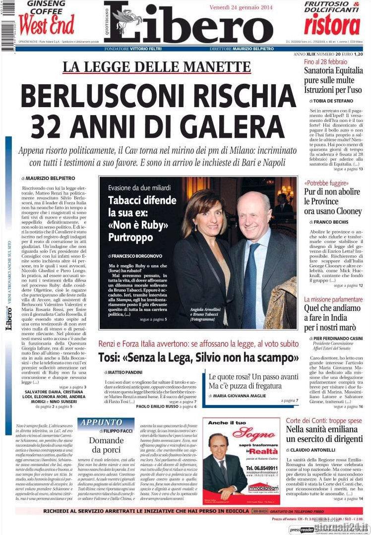 LE PRIME PAGINE IN EDICOLA. Sanatoria per multe e tasse. Scontro Renzi-Letta sulla legge elettorale. India, condannata allo stupro di gruppo per l'amore proibito