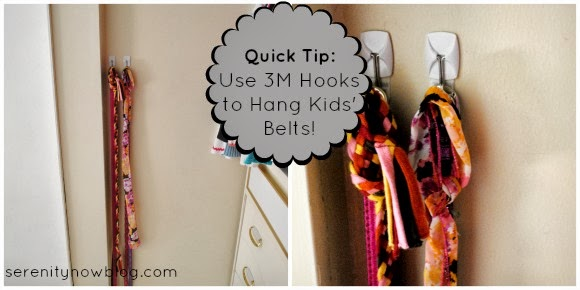 Tip: Use Command Hooks to Hang Girls' Belts in a Closet, from Serenity Now