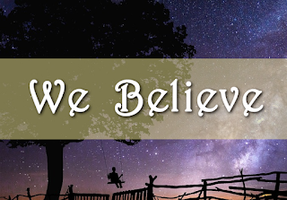 We Believes on an image of the starry sky, with child and tree and fence:   We believe in God the Father, Maker of the universe, And in Christ His Son our Saviour, Come to us by virgin birth. We believe He died to save us, Bore our sins, was crucified. Then from death He rose victorious, Ascended to the Father's side. Chorus:  Jesus, Lord of all, Lord of all, Jesus, Lord of all, Lord of all, Jesus, Lord of all, Lord of all, Jesus, Lord of all, Lord of all. Name above all names, Name above all names. Name above all names. 2  We believe He sends His Spirit, On His church with gifts of power. God His word of truth affirming, Sends us to the nations now. He will come again in glory,Judge the living and the dead. Every knee shall bow before Him, Then must every tongue confess.