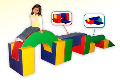 set equilibrio 19 piezas niña estimulacion juego espuma psicomotricidad colores azul verde amarillo rojo anaranjado cilindro rampa barra semicirculo piso
