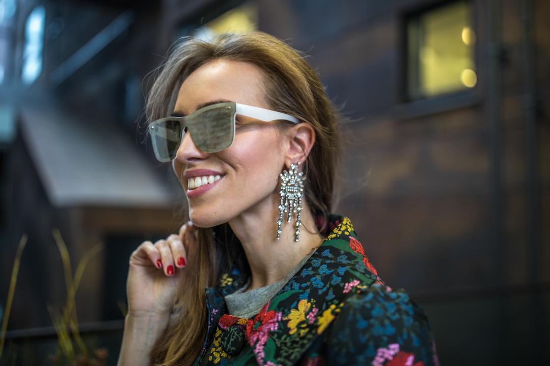 silver mirror sunglasses statement earrings