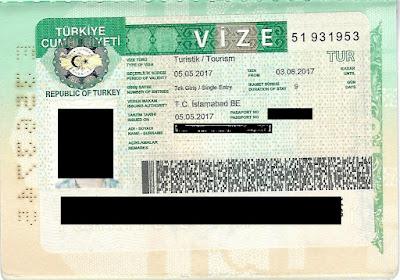 Scan Copy of Turkish Visit Visa from Pakistan