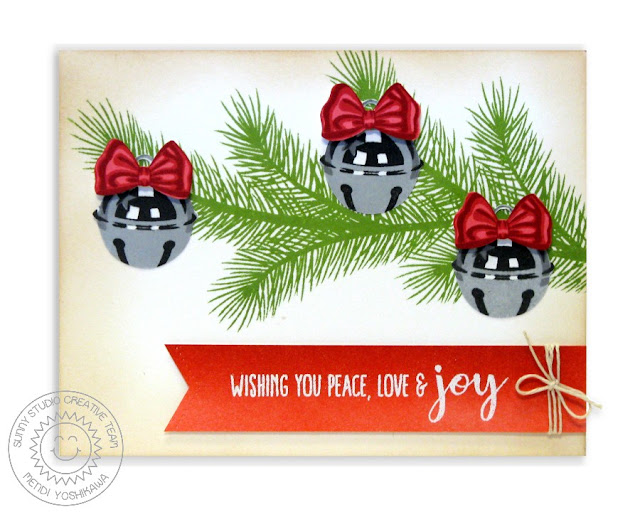 Sunny Studio Stamps: Holiday Style Jingle Bell Card by Mendi Yoshikawa