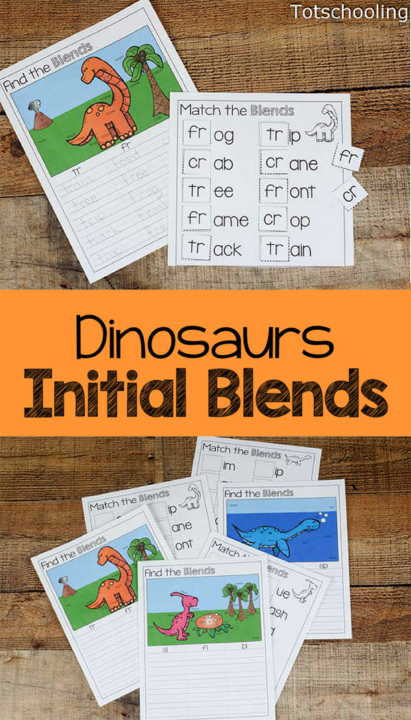 FREE printable Dinosaur Initial Blends activity for kids to practice reading and writing blends with a fun dinosaur theme. Great literacy activity for kindergarten and first grade.