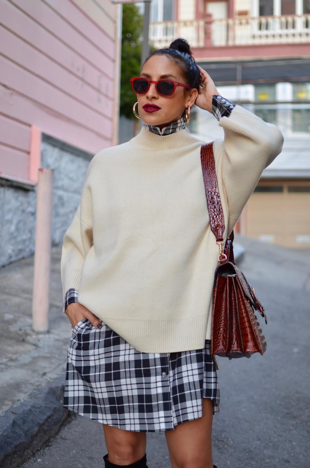 wintertime layers, streetstyle, San Francisco, plaid, IRO, IRO boots, Baldwin, San Francisco style blogger