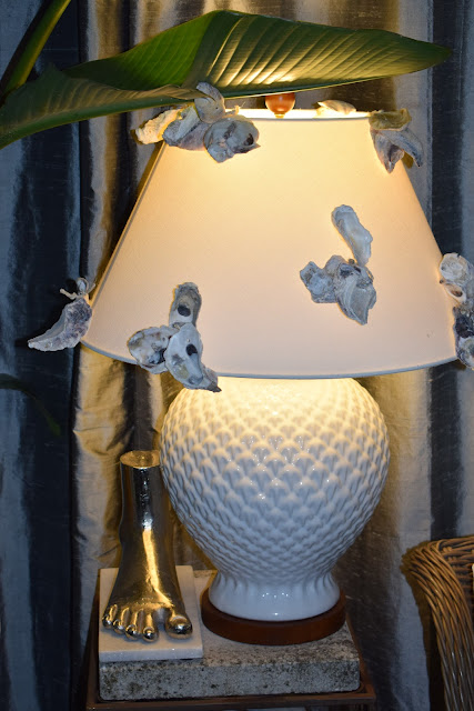 Ideas on repurposing a lampshade with seasonal decor