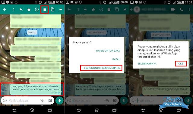 Hapus pesan whatsapp yang telah terkirim dalam jangka waktu lebih dari 7 menit - teratasi.com
