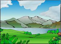 Landschaft mit See koloriert