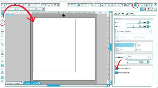 Silhouette Studio, custom patterned paper, Silhouette tutorial, show print border, draw a box