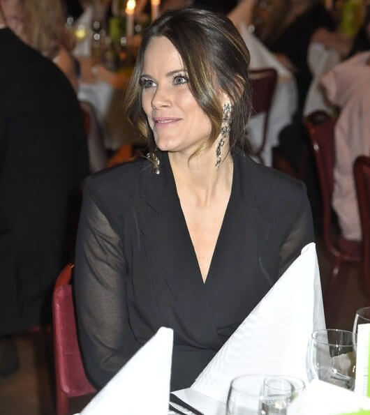Princess Sofia wore Sandro blazer dress. Stinaa.J pumps, Susan Szatmary bag and Maria Nilsdotter's Cherry Blossom earrings in Silver