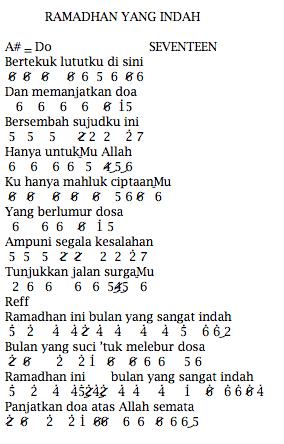 Not Angka Pianika Lagu Seventeen Ramadhan Yang Indah