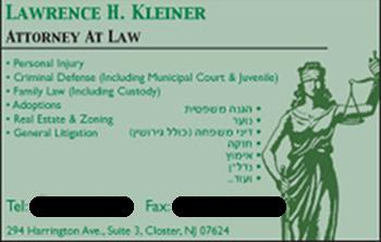 Lawrence Kleiner business card