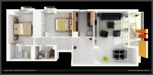 long narrow 2 bedroom 3d floor plan with outdoor lounge