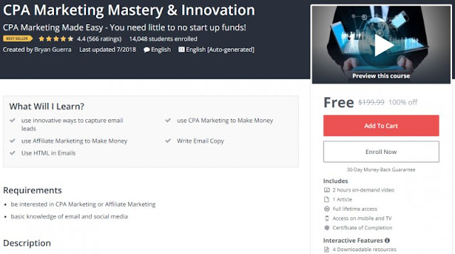 [100% Off] CPA Marketing Mastery & Innovation |BESTSELLING|