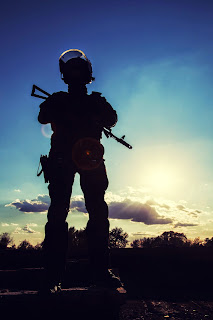 A SWAT officer in silouette against the sunset.