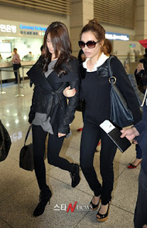 Girls' generation strut their ragged style game through Incheon airport (except for Jessica and Yoona) | Snapped
