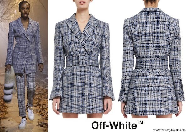 Queen Rania wore OFF-WHITE Belted Plaid Blazer from Ready To Wear Fall Winter 2017
