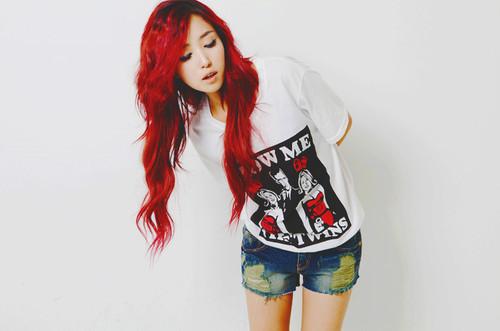 Ulzzang Red Hair minea, sombrero...