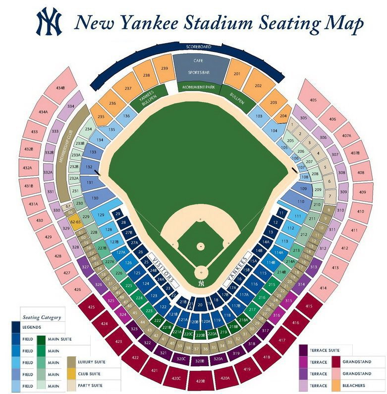 New York Yankees Seating Chart & Interactive Map SeatGeek - yankees stadium seating chart