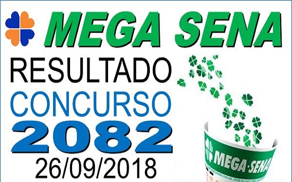 Resultado da Mega Sena concurso 2082 de 26/09/2018 (Imagem: Informe Notícias)