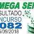 Resultado da Mega Sena concurso 2082 (26/09/2018)