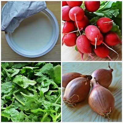 Lekki serek śniadaniowy z rukolą i rzodkiewką - składniki