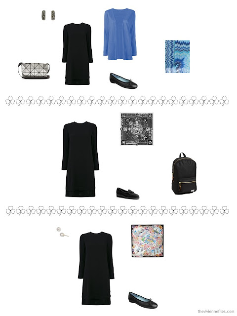 3 ways to style a black long-sleeved dress from a travel capsule wardrobe