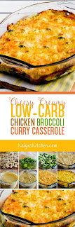 Cheesy Creamy Low-Carb Chicken Broccoli Curry Casserole found on KalynsKitchen.com