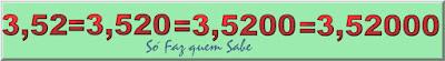 Numeral 3,52 escrito de várias maneiras, acrescentando zeros à sua direita
