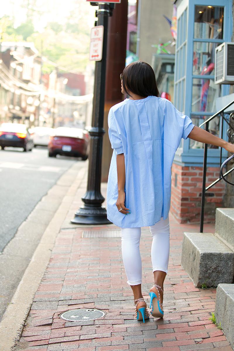 weekend style, skinny jeans, stripe shirt, valentino rockstud, www.jadore-fashion.com