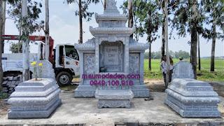 Mẫu lăng mộ đá đơn giản đẹp lắp tại Hưng Yên
