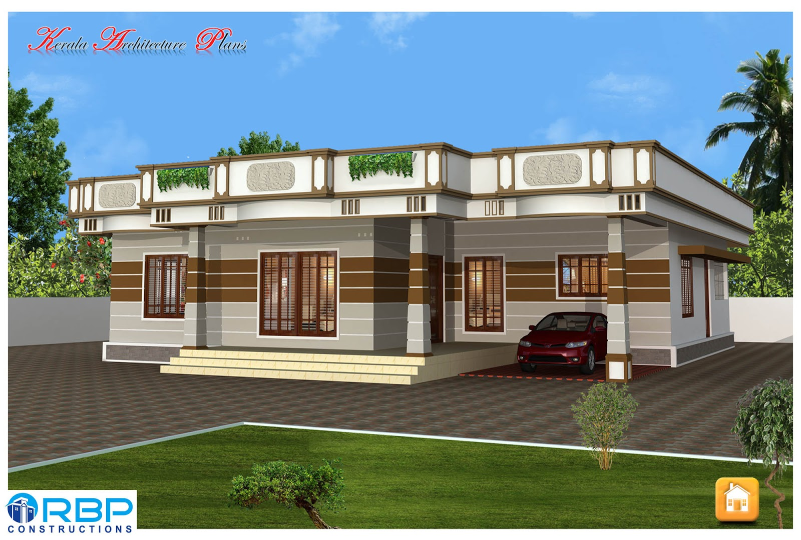 Kerala style single floor house plans and elevations for Single floor house elevation designs