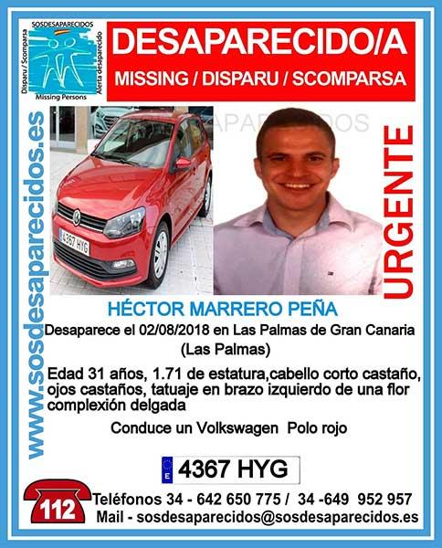 Cartel anunciador de la desaparición del hombre de 31 años, Héctor Marrero Peña, en Las Palmas de Gran Canaria