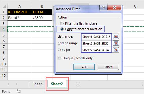 Menampilkan Hasil Filter di Sheet Lain 3