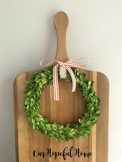 farmhouse dining room cutting boards boxwood wreaths