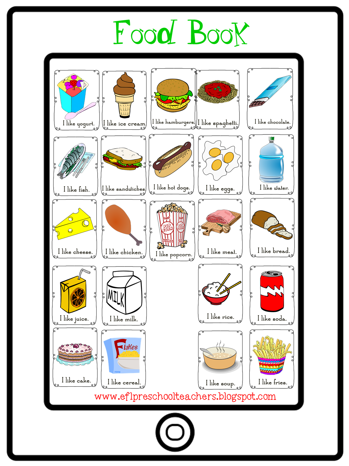 Esl Efl Preschool Teachers Food Theme