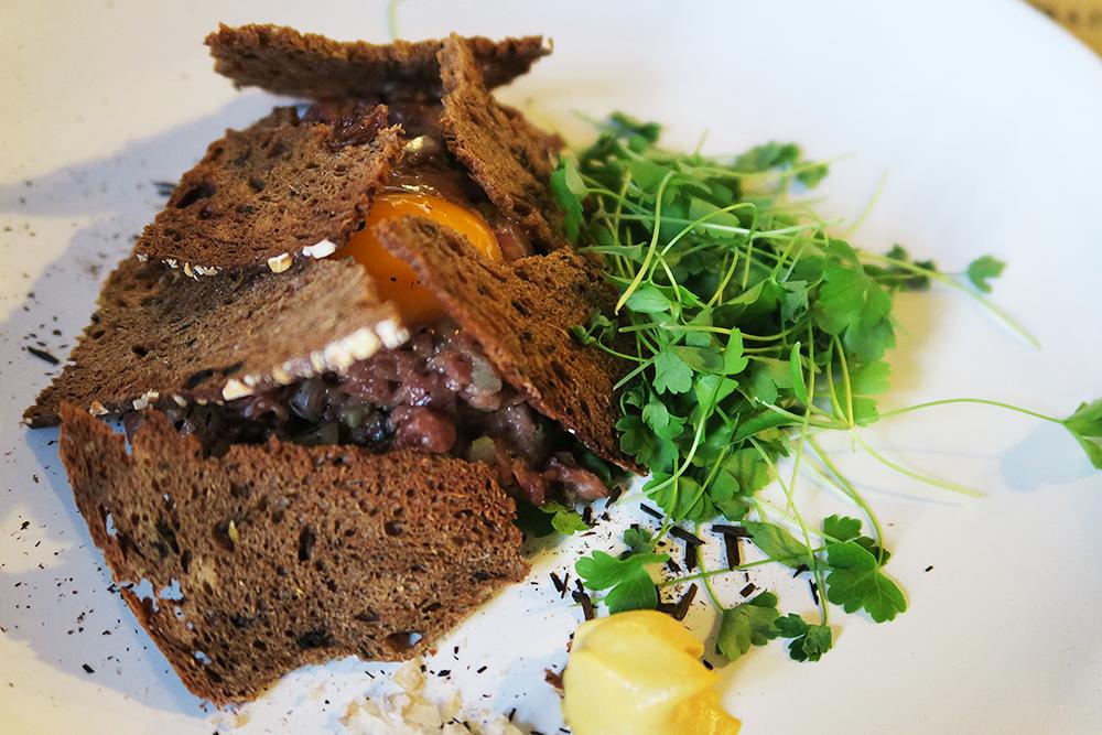 Venison Tartare with Dijon Mustard and Rye Bread Crisps