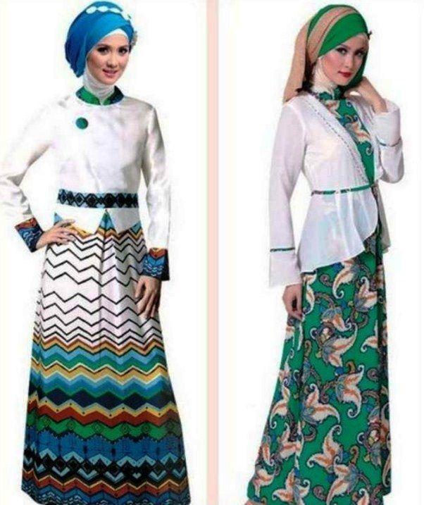 Model Baju Gamis Batik Kombinasi Blazer Modern Terbaru