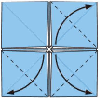 Bước 6: Gốc các lớp giấy trên cùng từ trong ra ngoài tại vị trí nét đứt