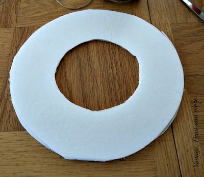Vintage, Paint and more... cut form from foam core for the base of a book page wreath