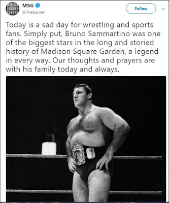 Madison Square Garden Tweets About Bruno Sammartino