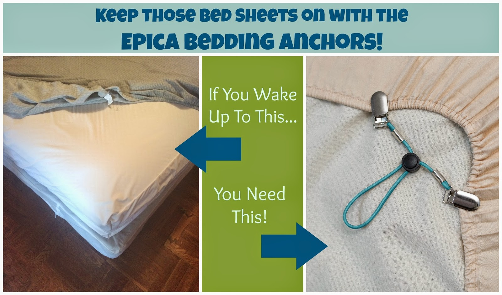Keep Those Bed Sheets on with the Epica Bedding Anchors!   First