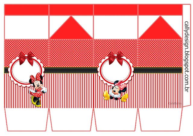 Cajas de Minnie en Rayas Rojas para imprimir gratis.