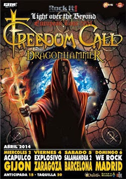 Conciertos de Freedom Call en Madrid, Barcelona, Zaragoza y Gijón en abril