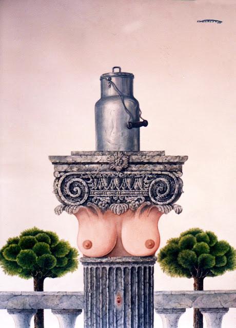 Acuarela surrealista desnudo leche pintor catalán Isidro Ventura